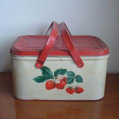 old metal strawberry picnic basket by ImSoVintage on Etsy
