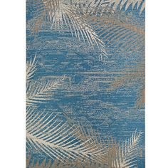 Found it at Wayfair - Karakoumi Tropical Palms Blue/Gray/Beige Indoor/Outdoor Area Rug