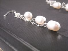 Fresh water pearl earring dangles by CamillesCloset on Etsy, $27.00