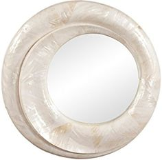 The swirling frame of this beautiful round wall mirror is crafted from genuine Mother of Pearl shells. Wood and Mother of Pearl shell frame construction. Iridescent Mother of Pearl finish. Style # at Lamps Plus. 4 Square Wall Mirrors, Round Wall Mirror, Round Mirrors, Mirror Lamp, Wall Mounted Mirror, Shell Frame, Grey Wood, Antique Gold, Shells