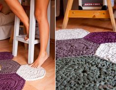 Trapillo rug crochet of hex signs by SusiMiu on Etsy