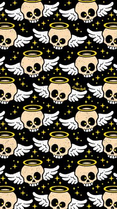 Angel skull skulls macabre spooky creepy cute Halloween wallpaper repeat pattern patterns iPhone phone background backgrounds Arts art surface design art licensing Casper spell (www.casperspell.com)