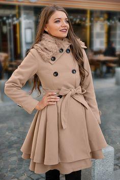 Palton Lory Bej • Chic Diva  realizat din stofa cu 20% lana doua randuri de nasturi cordon in talie Superhero, Coat, Jackets, Fashion, Down Jackets, Moda, Sewing Coat, Fashion Styles, Peacoats
