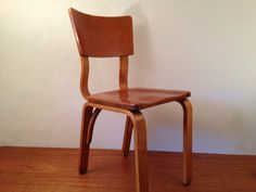 Vintage THONET mcm Maple Side CHAIR Retro NY Accent Kitchen Bentwood w Solid Seat