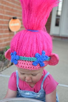 We are loving Trolls! This hat is so fun for dress up, playing, or just because! *Can be made in any size *Hair stands up, just like Princess Poppys! *Perfect for a birthday gift! *Also great for a halloween costume! *Made with soft yarn, so its comfortable for your childs head. *For any Trolls enthusiast, this hat is perfect