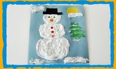 PRESCHOOL WINTER CRAFTS: Puffy Paint Winter Snowman Craft and Frosty the Snowman Song!