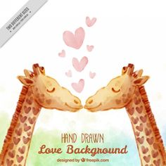 Watercolor lovely giraffes background Free Vector