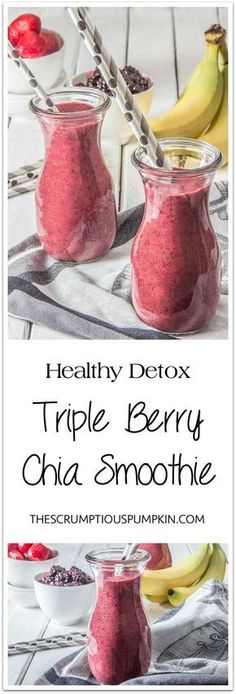Detox Smoothie – Triple Berry Chia | This brightly colored smoothie is refreshing and thick enough to eat with a spoon (filled with fiber & antioxidants too)! | The Scrumptious Pumpkin. #smoothie #healthy #fitness #eats #fit #raspberry #banana #easy #convenient #detox #cleanse #fruits #vegetables