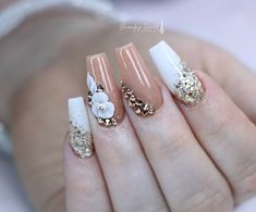 Nail art Christmas - the festive spirit on the nails. Over 70 creative ideas and tutorials - My Nails Fabulous Nails, Gorgeous Nails, Pretty Nails, Rose Gold Nails, Pink Nails, My Nails, Nail Swag, 3d Nail Designs, Bride Nails