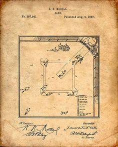 Baseball Board Game Patent Print From 1887  Patent by VisualDesign