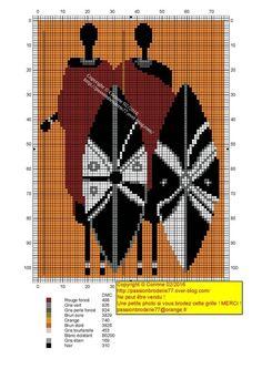 African Massai x-stitch Cross Stitch Numbers, Cross Stitch Love, Cross Stitch Pictures, Cross Stitch Charts, Cross Stitch Designs, Cross Stitch Patterns, Cross Stitching, Cross Stitch Embroidery, Boho Tapestry