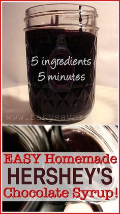 Chocolate Syrup Copycat recipe for Hersheys chocolate syrup. With NO FCS Just 5 ingredients and it only takes 5 minutes!Copycat recipe for Hersheys chocolate syrup. With NO FCS Just 5 ingredients and it only takes 5 minutes! Chocolate Syrup Recipes, Homemade Chocolate Syrup, Homemade Syrup, Homemade Seasonings, Hershey Chocolate, Homemade Sauce, How To Make Chocolate, Homemade Dry Mixes, Chocolate Milk Mix