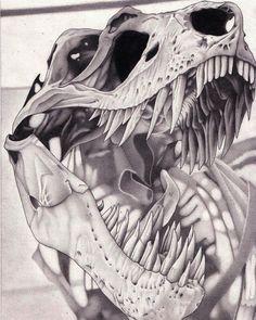 Rex skull graphite drawing by AlienOffspring on DeviantArt T.Rex skull graphite drawing by AlienOffspring on DeviantArt Hsv Tattoo, T Rex Tattoo, Jurassic World Dinosaurs, Jurassic Park World, Dinosaur Drawing, Dinosaur Art, Animal Skeletons, Animal Skulls, Skull Sketch