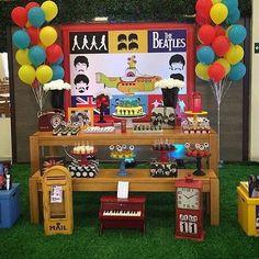 The Beatles Birthday Party Ideas (Festa dos Beatles) Beatles Birthday Party, 70th Birthday Parties, Birthday Party Favors, Festa Rock Roll, Festa Yellow Submarine, Candy Bar Decoracion, Geek Party, Rock Star Party, The Beatles