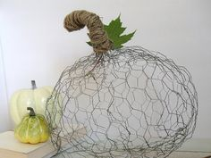 Instead of pumpkin, make a pendant lamp! Use chicken coop wire to make round ball and hang pendant socket inside + edison bulb for an industrial look