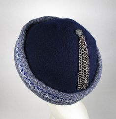 Men's cap, unlined hand sewn wool with chain tassel and Celtic Dogs ribbon on herringbone weave cuff.
