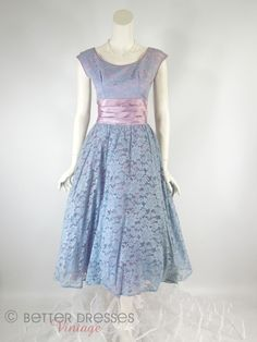 50s Lavender Lace Full Skirt Party Dress - by Better Dresses Vintage
