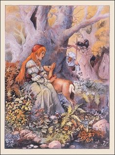 """Johnny Gruelle illustration from """"Grimm's Fairy Tales"""" Brothers Grimm Fairy Tales, Arte Black, Fable, Vintage Fairies, Fairytale Art, All Nature, Children's Book Illustration, Book Illustrations, Copic"""