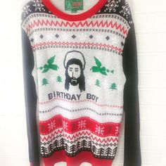 cbcc4bf5be7 christmas funny ugly holiday sweater party xmas t shirt Jesus Bday Size  Small