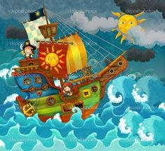 cartoon pirates ship - Hľadať Googlom