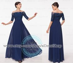 3/4 Sleeves Modest Evening Dress, Dark Blue with Long Sleeves, Mother of the Bride Dress, Wedding Guest Dress