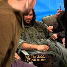 "Behind the Hobbit:  "" Bofur ? Alcoholic."" -Aidan Turner. (gif set)"