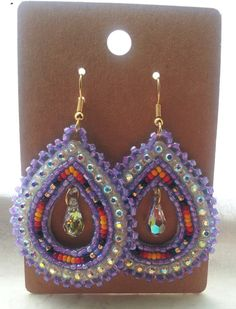 Native American Beaded Teardrop Earrings by CJBeadwork on Etsy, $35.00