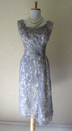 SALE+++Vintage+1940s+Gray+Lace+Dress+/+Hourglass+by+FabVintage,+$57.60