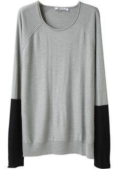 love the black sleeves.  A cute take on the ubiquitous boxy sweater.  T by Alexander Wang.