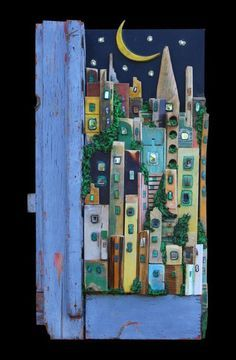 66 Ideas Scrap Wood Crafts Ideas House For 2019 Scrap Wood Crafts, Driftwood Crafts, Diy Crafts, Shadow Box Kunst, Ceramic Houses, Assemblage Art, Wooden Art, House In The Woods, Pebble Art