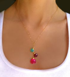 Multi Gemstone Necklace - Teardrop Beaded  Necklace  - Long Dangle Aqua & Hot Pink Chalcedony Necklace - Cluster Gemstone Necklace Gift by GlassPalaceArts on Etsy https://www.etsy.com/listing/184216797/multi-gemstone-necklace-teardrop-beaded