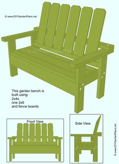 Free garden bench plans. All you need is 2x4s, one 2x6 and fence boards.
