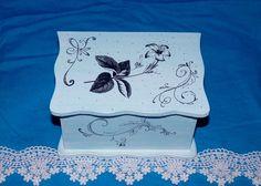 Decorative Wedding Box Wood Wedding Box Blue by EssenceOfTheSouth, $42.50