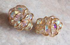 Swarovski Earrings Bezel Set Aurora Borealis Savvy Clip On Gold Tone Wedding Vintage