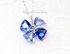Gemstone Lucky Clover Necklace Shaded Blue by LemonDreamHouse, $45.00