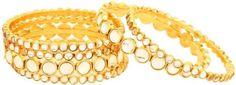 Ethnic  Latest Gold Plated Kada Jewelry CZ Pearl Bangles 2 Pcs Bracelets Set  #uniquegemstone17 #Bangle Wedding Bracelet, Bracelet Set, Bangle Bracelets, Gold Plated Bangles, Indian Party, Ladies Party, Wedding Wear, Party Wear, Costume Jewelry