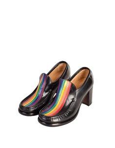 Patrick Cox Vintage Rainbow Stripe Black Leather Heeled Loafer Shoes