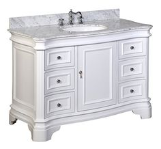 """Kitchen Bath Collection KBC-A48WTCARR Katherine Bathroom Vanity with Marble Countertop, Cabinet with Soft Close Function and Undermount Ceramic Sink, Carrara/White, 48"""""""