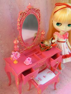 Upcycled Vintage Doll Vanity...Bright Beautiful by KittyKatDance, $85.00