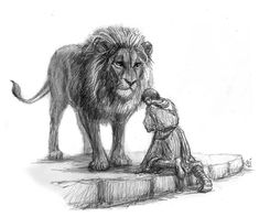 """And this is the marvels or marvels, that he called me beloved, me who am but  as a dog."" Aslan And Emeth by Jef Murray"