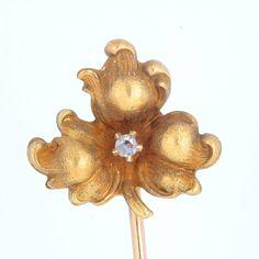 Stick pin stickpin Victorian Diamond gold  antique vintage   Leaf  or flower   rose cut diamond   10 kt gold   1800's by DavidJThomasJewelry on Etsy