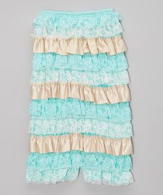 Aqua & Ivory Lace Ruffle Romper - Infant & Toddler by Chicaboo #zulily #zulilyfinds