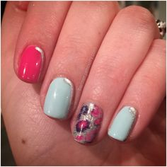 Such a fun look! This nail wrap is Pretty Kitty from Jamberry's new Spring 2016 catalog. It is paired with Jamberry TrūShine gel in Fresh and Flamingo, with a little Paparazzi magic. Unicorn status for real.    DIY Nail Art Nails Polish Gel Pink Mint Silver Sparkle