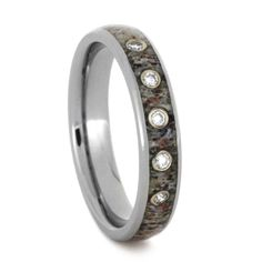Diamond Titanium Antler Wedding Ring