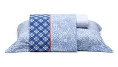 Mmartam - Jogo de casal lençol Shiny Summer azul 4 peças - R$ 239,40