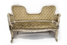 Napoleon III settee from 1850's in original finish and 1920's cut velvet fabric. Found in Les Puces, Paris. Exquisite detailing on the carving.