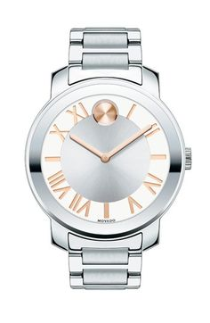 Movado 'Bold' Roman Numeral Index Bracelet Watch, 39mm (Regular Retail Price: $395.00) available at #Nordstrom