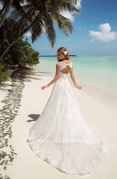 A-Line Floor-Length Bateau-Neck Short-Sleeve Corset-Back Lace Dress With Keyhole - Dorris Wedding Corset, Lace Dress, Wedding Day, Floor, Wedding Dresses, Sleeve, Collection, Fashion, Pi Day Wedding