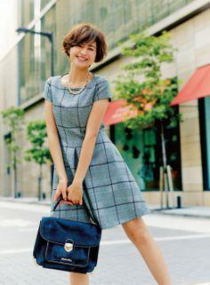 【着まわしday1】チェック柄ワンピース   ファッション コーディネート   with online on ウーマンエキサイト