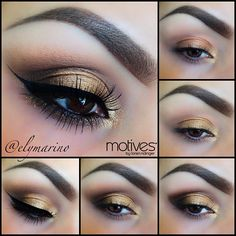 "✨Pictorial✨ Using Golds and Browns✨ totally suitable for a night out, using All @Motivescosmetics Base/Eye Candy Crème shadow (to really make the gold pop) Tear duct/Vintage Glam Lid/Bronze Beauty Outer Corner & Crease/Chocolight Blending/Cappuccino Eyeliner/Liquid liner in ""Noir"" Waterline/Khol Eyeliner in ""Onyx Gem Dust in ""24K"" underneath lower lash line for a little sparkle✨✨✨ #elymarino"